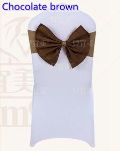 Colore marrone cioccolato Spandex sedia telai sedia matrimonio fascia lycra elastico fascia farfallino hotel festa spettacolo decorazione farfalla