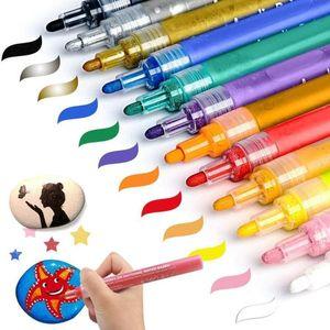 12pcs set Acrylic Paint Marker Metallic Flash Water-based Pigment Ink Marker Pens Waterproof Color Highlighter DIY Mug Design