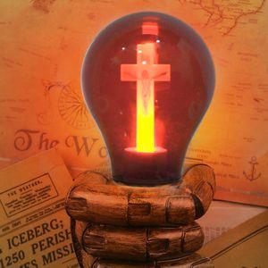 حار E27 LED لمبة لهب أحمر السلمية العقل ضوء صليب يسوع الكنيسة لمبة 90-265V كاتدرائية بار صل فندق ميدان ديكور مصباح
