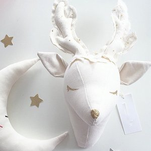 White Reindeer Wall Decorations Animals Head Toys Kids Bedroom Wall Hangings Artwork Baby Gifts Stuffed Toys