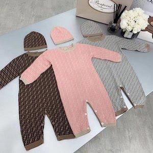 Осень Зима новорожденного Мебельного свитер мальчика Rompers Дети костюм девушка Младенческий Комбинезон с шляпой