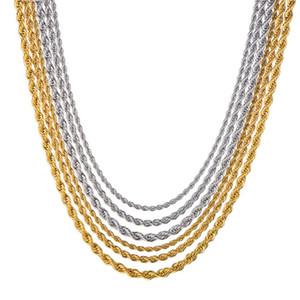 Collana uomo Donne Retail Chain oro del commercio all'ingrosso collana d'argento 3mm18,20,24 pollici gioielli in acciaio inossidabile di torsione della catena della corda