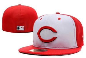 Sombreros ajustados baratos Sombrero para el sol Sombrero de Cincinnati Gorra de los rojos Equipo de béisbol Equipo bordado Equipo de ala plana Béisbol adulto