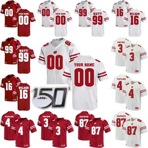 Wisconsin Jerseys Mens Alec Ingold Jersey Troy Fumagalli Joe Thomas Melvin Gordon III TJ Watt College Football camisas personalizadas costurado