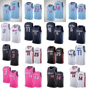 77 maglie Doncic Dirk Nowitzki 41 Dwyane Wade 3 Jimmy Butler 22 Tyler 14 Herro 6 Porzingls Kendrick 25 Nunn Mens College Basketball
