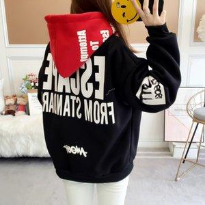 Zuolunouba Herbst-Winter-verdicken neue beiläufige Brief Mädchen Pullover mit Kapuze Rot Schwarz Hoodies Frauen Sweatshirt