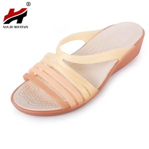 2020 di New Scarpe da donna sandali della spiaggia con zeppa in plastica Jelly Fish bocca con plastica Parola sandali e ciabatte
