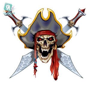 Rocooart CC6069 Crâne Horrible Pirate Halloween Designer Transfert de tatouage temporaire autocollant Body Art Faux eau Taty pour 50pcs / lot Visage Hott