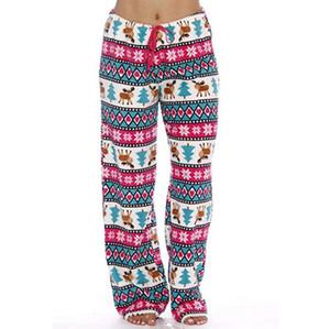 Женщины Рождество плюшевые пижамы 4 стили лося печатных сна днища гостиная брюки зима теплая мягкий комфорт материнства сна брюки LJJO7392-4