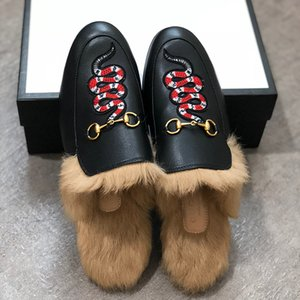 2020 hommes Mulets Flats Fur Chaussons Mode Mocassins Broderie Princetown Tiger Chaussures Furry Slides Muller Slipper Sandal avec la boîte