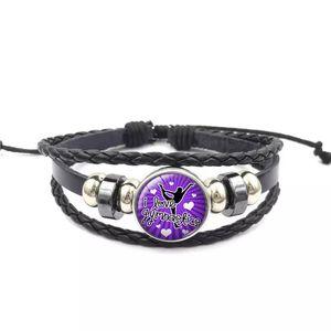 Noosa Tumble Gymnastique Snap Button Bracelet 18MM En Verre Cabochon Gingembre Charme tressé Corde Bracelet Pour femmes hommes Bijoux De Mode