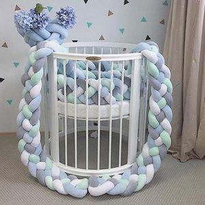 아기 침대 수호자 범퍼 신생아 4 트위스트 순수한면 직물 봉제 매듭 유아용 침대 장식 볼 수호자 유아 룸 장식 침대