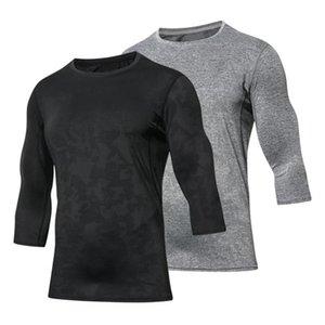 Hombres Trainning camisetas transpirable malla Jacquard Ejecución de las camisetas de secado rápido aptitud de los hombres Ejercicio empalme Tops apretado Sportswea