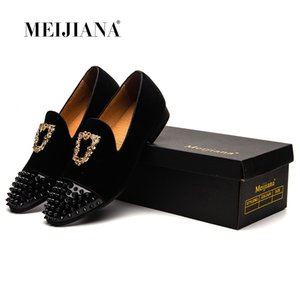 MeiJiaNa Smoking Slippers Loafers Luxus Herren Freizeitschuhe Velvet Red Black Blue Driving Schuhe