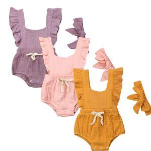 Nouveau-né Bébé Onesies infantile bébé été Ruffle Couleur unie Bow manches Jumpsuit filles col carré Jumpsuit avec serre-tête