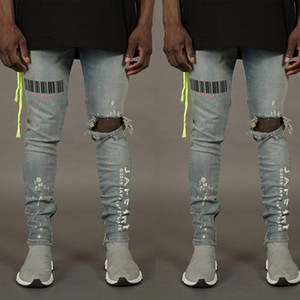 Europa e América New Style por Homens Impresso com furos Elasticidade Skinny Jeans Calças Gentleman