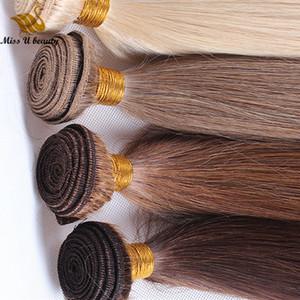 브라질 사람의 머리 번들 1 번들 브라운 색상을 머리에 의하여 길쌈합니다 씨실 컬러 확장자 Remy 머리에 금발의 붉은 포도주 99J