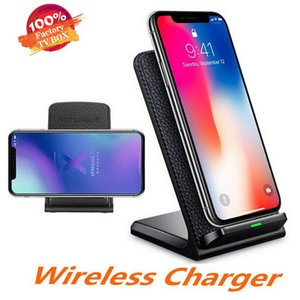 2 Coils Wireless Charger Leather Fast Qi Wireless Charging Stand Pad for iPhone X 8 8Plus Samsung Note 9 S8 S7 all Qi-enabled Phones