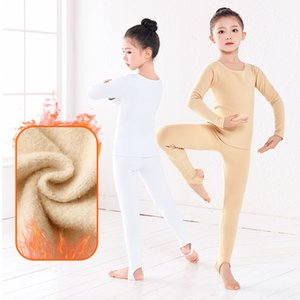 New Arrivals Girls Winter Warm Ballet Training Basic Suit Thick Velvet Long Sleeve Pantyhose Stretch Gymnastic Dance Bodysuit