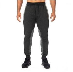 Desenhador Calças Lápis Cor Natural Ativo calças estilo Vestuário geométrica painéis calça casual mens com cordão