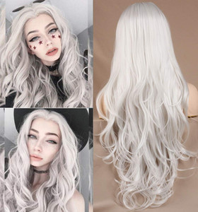Fashion 24 Inch Long White Lace Wigs Glueless Heat Resistant Synthetic Lace Front Wigs for Women Free Part Wavy Natutal Curly Lace Wig