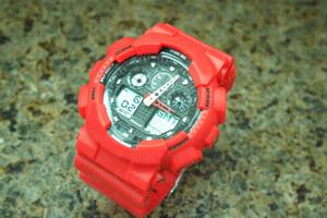 Adolescentes Hot modelo da marca dos homens relógio de pulso, Esporte dupla exibição GMT Digital LED reloj hombre relógio relogio masculino