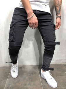 Mens Black Denim Slim Fit Jeans Male Skinny Pencil Pants Casual Cargo Pants Trousers with Pockets Straps Free Shipping