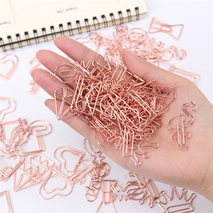 12 Styles Cute Paper Clip School Office Supply Metal Plating Rose Gold Paper Clip Students Gift