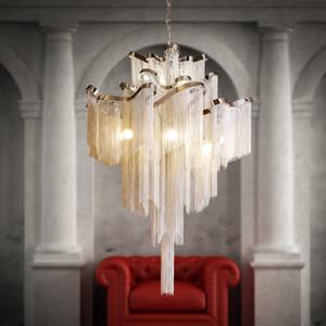 Chaîne en or d'argent moderne en aluminium avec franges de suspension de lampe suspendue à la lumière LED beau lustre pour la décoration d'hôtel à la maison