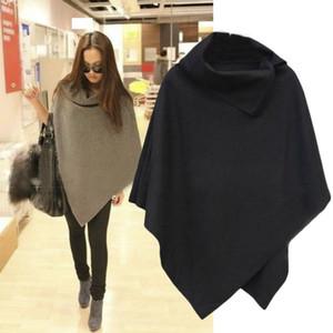 2020 New Sweater Frauen Cape Mantel Mantel Tops Jacken Pullover Frauen unregelmäßiger Rand Pullover Strick Camisolas Maxi-Pullover