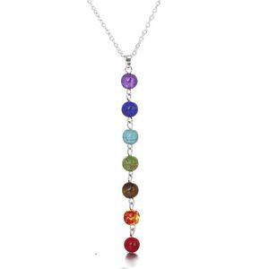 7 Chakra Perlen-hängende Halskette mit echten Steinen Mala Y-förmige Ketten für Frauen Reiki Energieperlen Yoga Schmuck