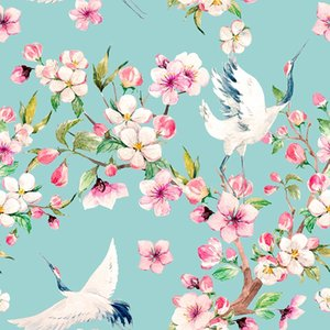 Custom digital print Clothing Fabricing Polyester fabric for dress bird and flower print fabric thin stretch cloth diy Clothes Shirt
