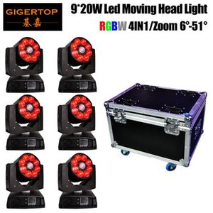 6in1 Flight Case Verpackung 9x20w New Zoom Led Moving Head Light Stage Weddingled Led Fernlicht DMX512 Für Privatanwender Dj-Verein-Disco-Musik-Party
