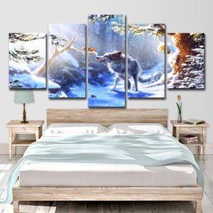 Lienzo Pintura Wall Art Home Decor 5 Unidades Snow Forest Animal Lobo Ardilla Para la Sala HD Impreso Paisaje Imagen