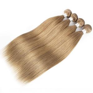 #8 #27 #30 Blonde Brown Human Hair Weave Bundles Indian Virgin Straight Hair 3 or 4 Bundles 16-24 Inch Remy Human Hair Extensions