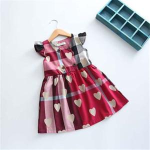 Bebés Meninas designer de vestido xadrez vestido Cópia do coração roupa Fly da criança da luva Crianças Dress For roupa da menina Vestidos HN131