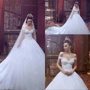 2020 robe de mariee Dubaï robe de ballon arabe robe de mariée hors de l'épaule appliques dentelle robe de mariée princesse