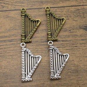Alloy Harp Charms 10PCS Lot 39*21mm Music Charms Pendants DIY Supplies Charm Bracelets 2 Colors Available-WY1016