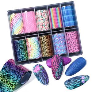 10 рулонов / коробка градиент Леопард ногтей фольга бабочка цветок Звезда дизайн ногтей наклейки DIY полный обертывания украшения TRXKC74
