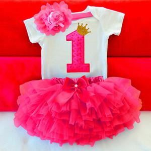 Bébé fille d'été robe premier premier anniversaire gâteau smash tenues vêtements 3pcs ensembles barboteuse tutu jupe bandeau costumes de bébé