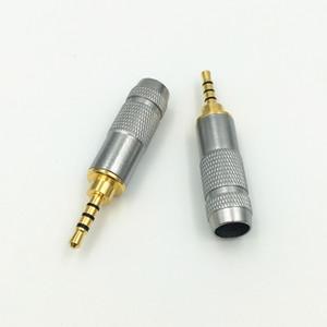 Freeshipping 100x Vergolden Gerade 4 Pole 2.5mm Stereo TRRS Reparatur-Kopfhörer-Stecker Jack Metall-Audioanschluss