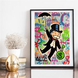 Alec Monopole Riding Geld-Pop-Art Leinwand-Malerei Schlafzimmer Dekoration-modernes Wand-Kunst-Ölgemälde Großes Bilder 191004