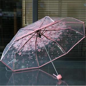 Transparente PVC Rainy Regenschirm Frauen Klar Kirschblüte Regenschirm Klare Blume Pilz 3 Falten Dame Girl Raim Regenschirme Verkauf