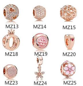 Autentico Argento 925 Si adatta Pandora Bracciale Rosa Perline fiore dell'oro per Snake europea catena Necklace Fashion Jewelry fai da te