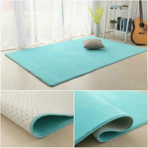 단색 두꺼운 산호 벨벳 카펫 현대 거실 공간 카펫 침실 침대 옆 러그 다다미 크롤링 매트 홈 장식