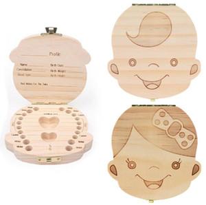 Çocuklar Diş Kutusu Organizatör Bebek kaydet Süt Dişleri Ahşap Saklama Kutusu İçin Boy Kız Ahşap Diş Albüm Keepsake Souvenir Kutusu Organizatör SN649