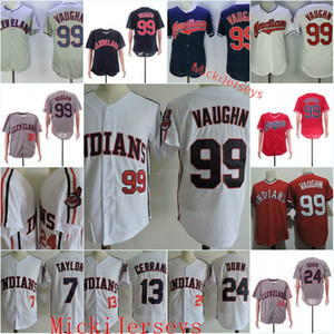 Hommes # 99 Rick Vaughn Jersey # 13 Pedro Stitched Cerrano # 7 Jake Taylor # 24 ROGER Dorn Film Baseball Jersey S-3XL