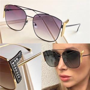 New Fashion Design Sunglasses 0380 Charming Cat Glass Blocking Lettere con custodia in cristallo Diamond Gambe Top Qualità Stile popolare