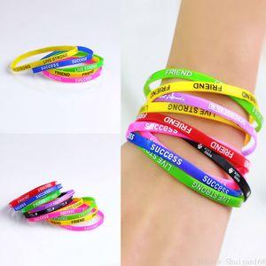 Silikon-Sport-Armbänder Bunte Freund gedruckten Buchstaben-Silikon-Armband-Frauen Gummi Fitness-Armband Armband Schmuck Weihnachtsgeschenk