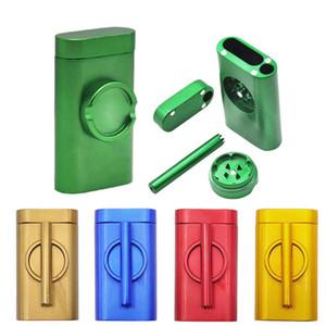 Caja de aluminio Molido Pellizco Contenedor del bateador Dugout Rod Poker con sala de almacenamiento de tabaco + Molinillo + Tubos, todo en uno 5 colores